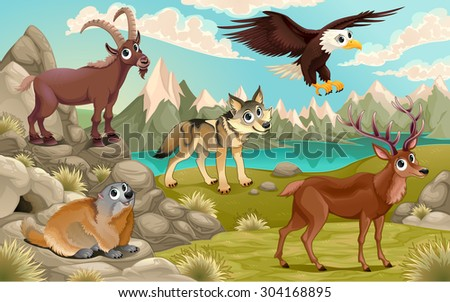 Funny animals in a mountain landscape. Vector cartoon illustration - stock vector
