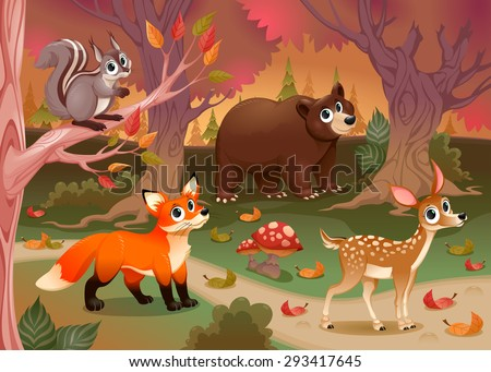 Funny animals in the wood. Cartoon vector illustration - stock vector