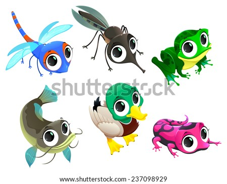 Funny animals of pond. Cartoon vector isolated characters. - stock vector