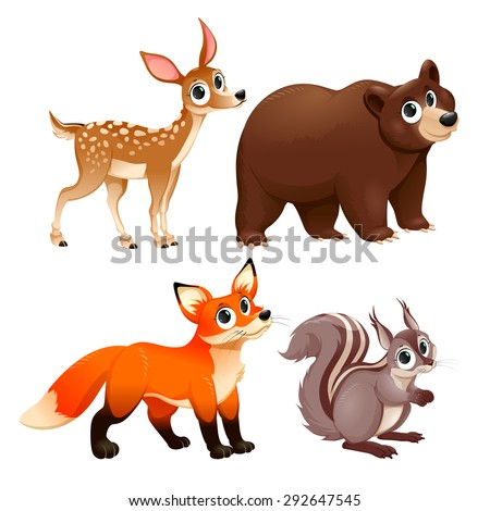 Funny animals of the wood. Deer, brown bear, fox and squirrel. Vector cartoon isolated characters. - stock vector