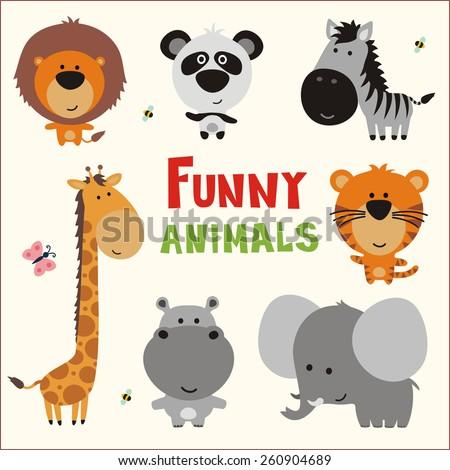 Funny animals set. Vector illustration cute animals. Collection cartoon animals. Isolated animals. - stock vector