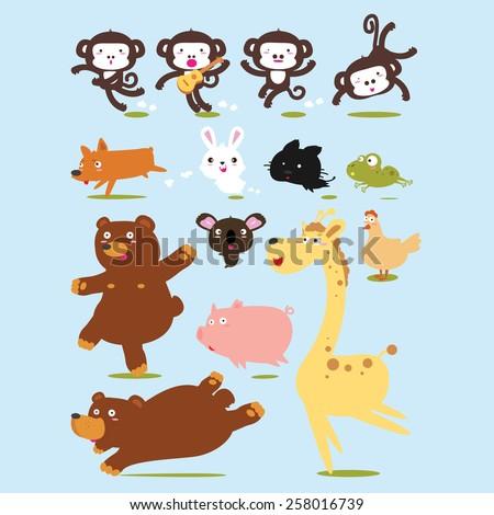Funny Animals Vector Cartoon illustration - stock vector