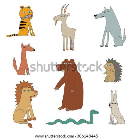 Funny animals. Vector Illustration. - stock vector