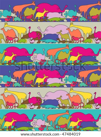 Funny animals - vector illustration seamless brush included - stock vector