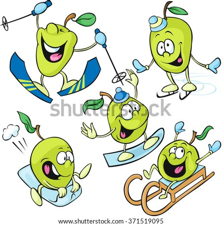 funny apple character - winter sport isolated vector on white background - stock vector