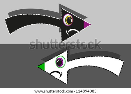 funny arrows set white and black - stock vector