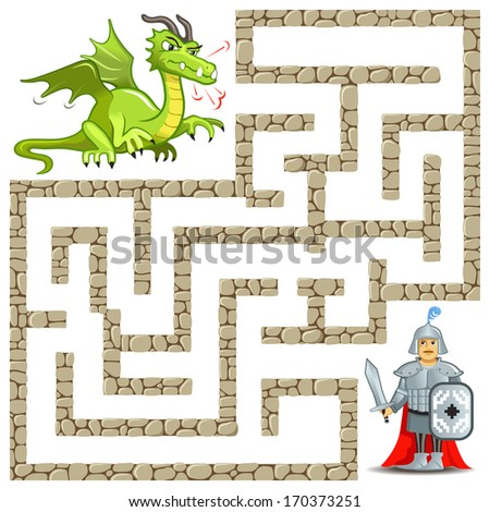 Funny Artwork - Vector Maze Game: the Brave Warrior Find the Way to Angry Green Dragon. Vector Illustration about Strong Knight - stock vector