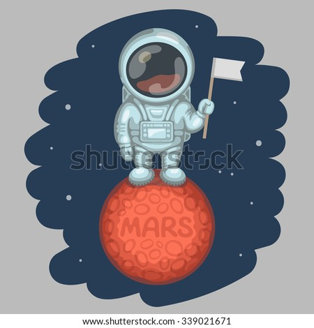 Funny astronaut dressed in white spacesuit is standing on red planet and holding in his hand small flag, craters and MARS inscription on planet surface. Expedition to Mars and space exploration - stock vector