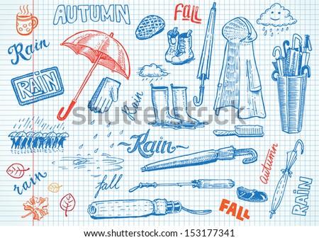 Funny Autumn doodles - stock vector