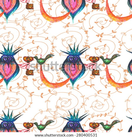 Funny baby background with owls and keys.Seamless. - stock vector