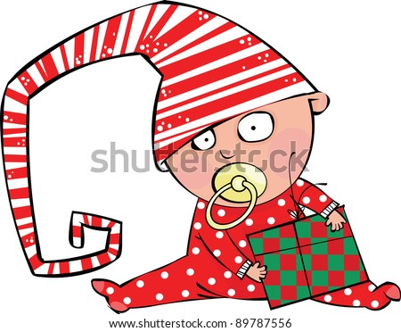Funny baby boy in christmas hat with gift box - stock vector