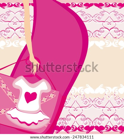 funny baby shower card  - stock vector