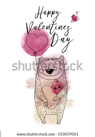 Funny bear. Happy valentine's day. Hand drawing vector sketshes.