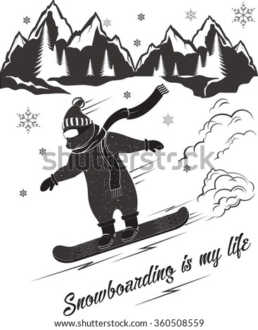 Funny bear riding a snowboard on a snow background. Illustration of a bear dressed in winter clothes, for your logos posters t-shirts