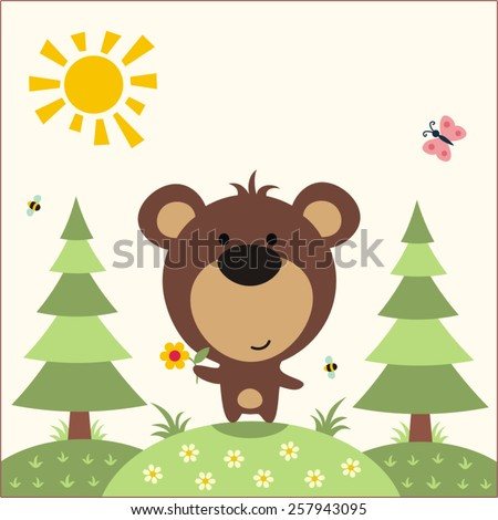 Funny bear - vector illustration. Cute little bear with flower in the forest - stock vector