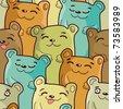 Funny bears - seamless cartoon pattern - stock vector