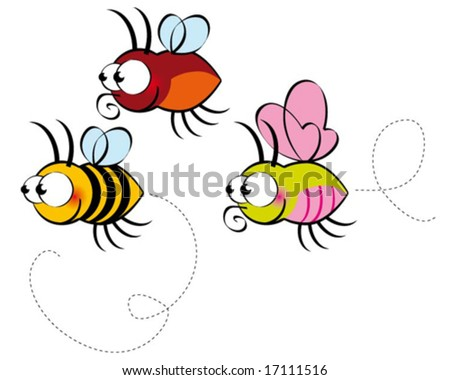 funny bee - stock vector