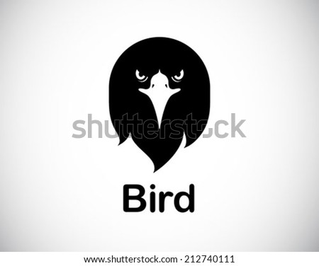funny bird logo abstract icon - vector - stock vector