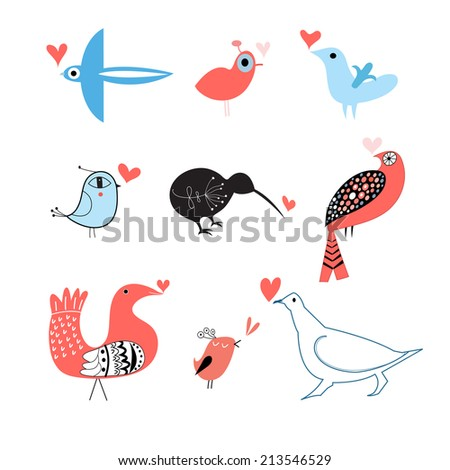 funny bird lovers set on white background   - stock vector