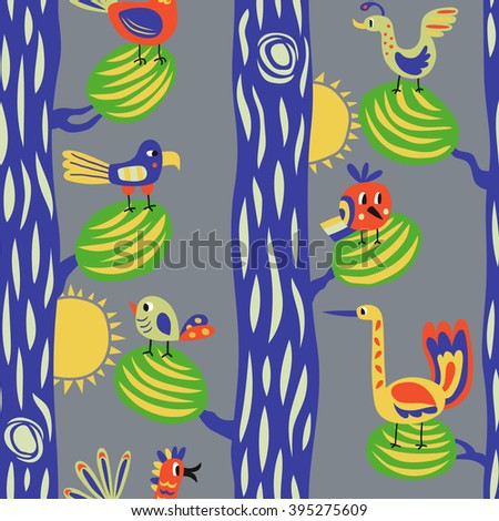 Funny birds in the forest. Seamless vector pattern with cartoon birds in the trees - stock vector