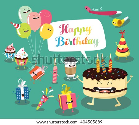 Funny birthday set. Birthday cake, balloons, gifts, candles. Comic characters. Vector illustrations - stock vector