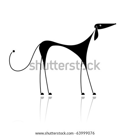 Funny black dog silhouette for your design - stock vector