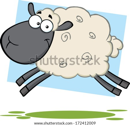 Funny Black Head Sheep Cartoon Mascot Character Jumping. Vector Illustration  - stock vector