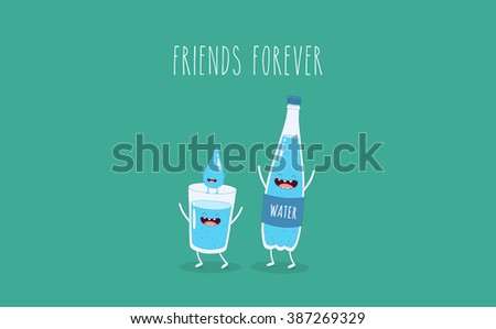 Funny bottle of water, glass of water and drop water. Use for card, poster, banner, web design and print on t-shirt. Easy to edit. Vector illustration. - stock vector