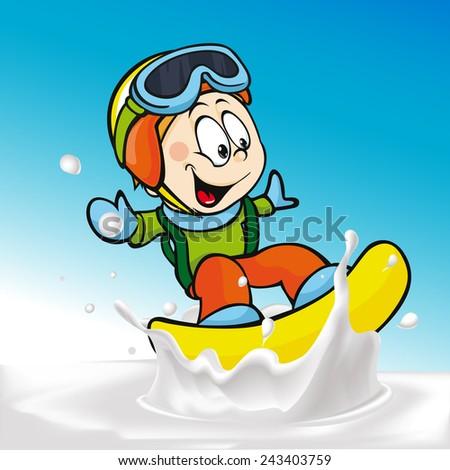 funny boy cartoon surfing on milk splashing wave - vector illustration - stock vector