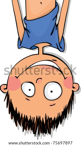 Funny boy hanging upside down - stock vector