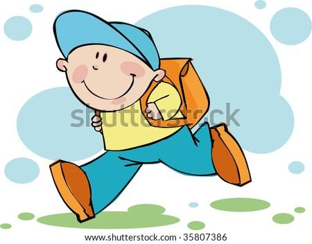 Funny boy runs in school - stock vector