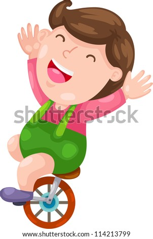 Funny boy with bicycle .illustration vector - stock vector