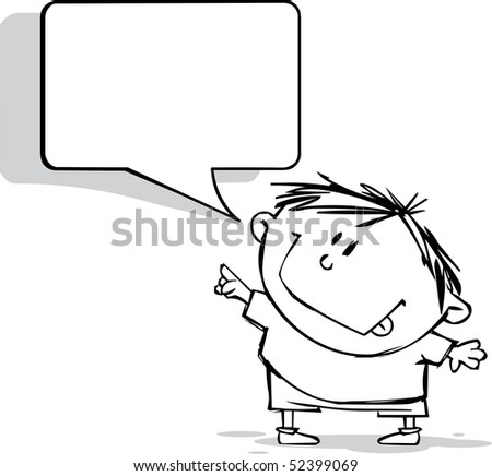 Funny boy with speech bubble - stock vector
