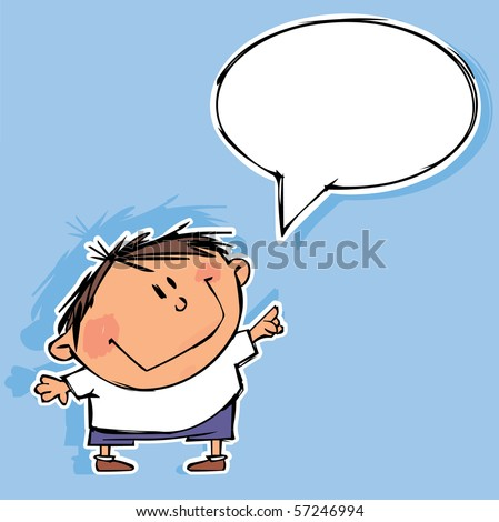 Funny boy with speech bubble - stock vector