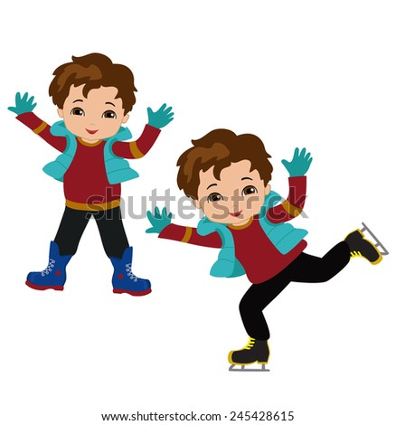 Funny boys in winter clothes ice skating isolated on white background . - stock vector