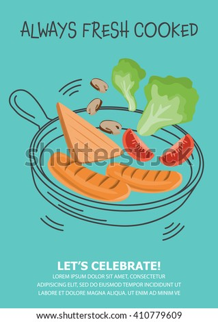 funny breakfast Posters and background set. flat and doodle design. there are egg, coffee , cereal with milk, pancake, bread, vegetable and hotdog layout template in A4 size. vector illustration. - stock vector