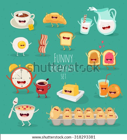 Funny breakfast set. Comic characters. Vector illustrations. - stock vector