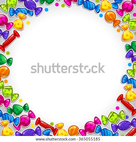 Funny bright abstract background with colorful candy stickers, vector illustration with place for your text