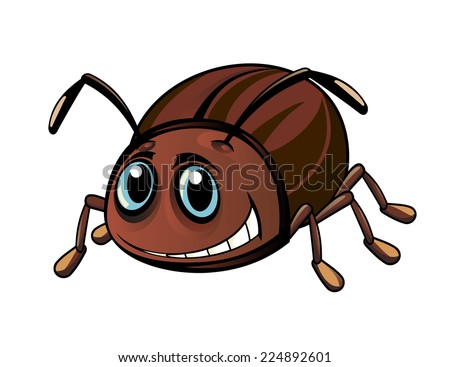 Funny brown beetle in cartoon style. Vector illustration ...