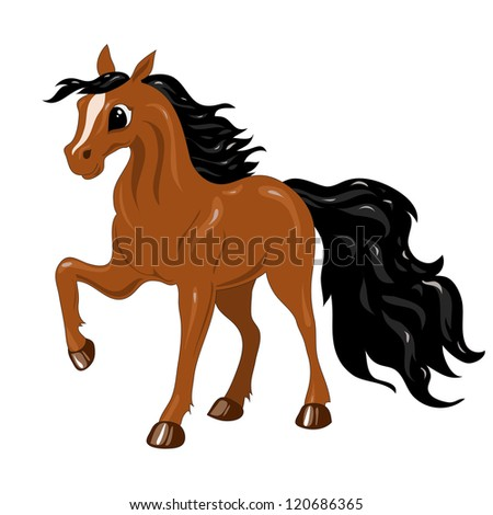 funny brown horse with a black mane and tail - stock vector