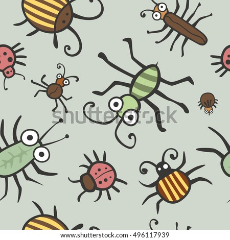 Funny bugs and insects vector. Children seamless texture, background, fabric, textile