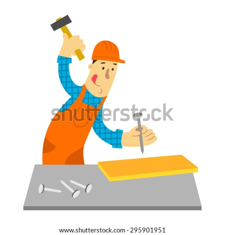 Funny builder with hammer and nails. Flat design. Vector illustration. Isolated on white background. - stock vector