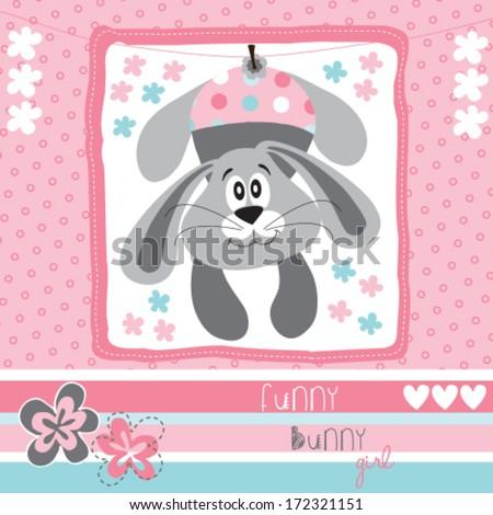 funny bunny girl vector illustration - stock vector