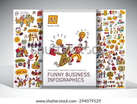 Funny business creative info grafics big icons set. Doodles big set set with creative people, symbols and icons. Every object is separated. Color vector illustration.