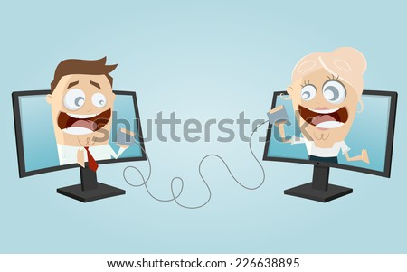 funny business people communication - stock vector