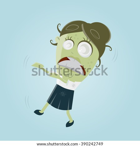 funny business zombie woman - stock vector
