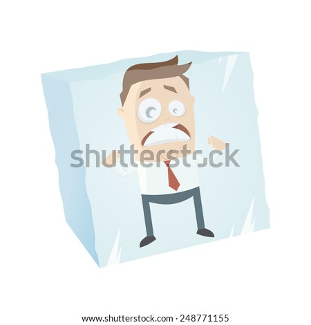 funny businessman is frozen in an ice cube - stock vector