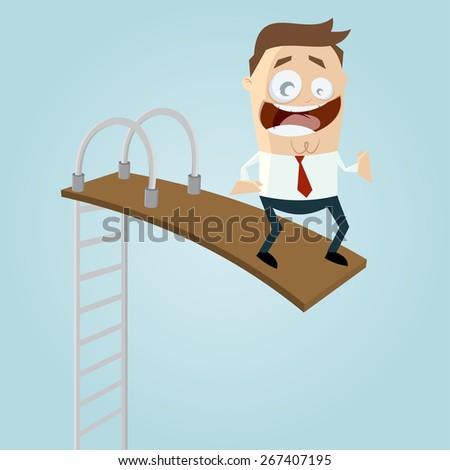 funny businessman on springboard - stock vector