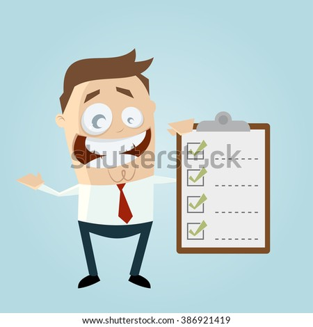 funny businessman with checklist - stock vector