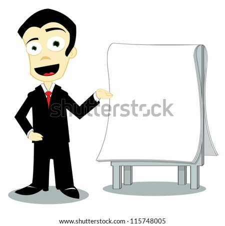 Funny businessman with copy space - stock vector